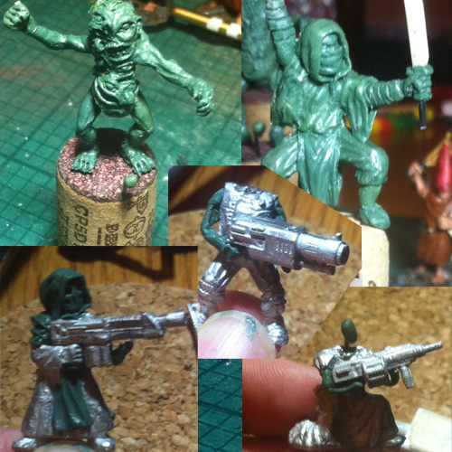 WIP green putty sculpts
